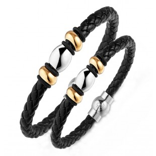 Lunavit Leather Magnetic bracelet with negative ions & germanium, therapeutic value of negative ions magnets and germanium in one wellness bracelet