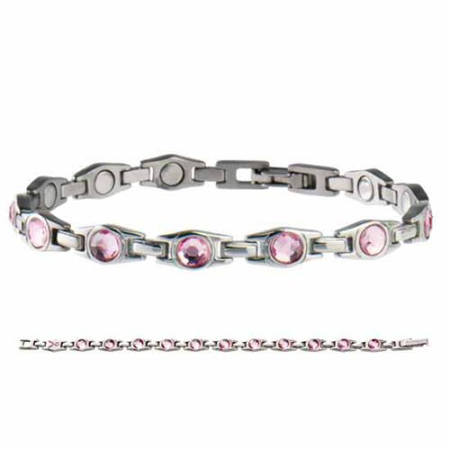 SABONA Executive Pink Ribbon Magnetic Bracelet features pink cubic zirconium gems set in polished stainless steel