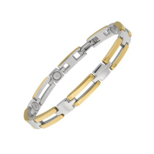 SABONA Executive Slim Bar Duet Magnetic Bracelet features polished stainless steel and polished 18K gold plating connectors