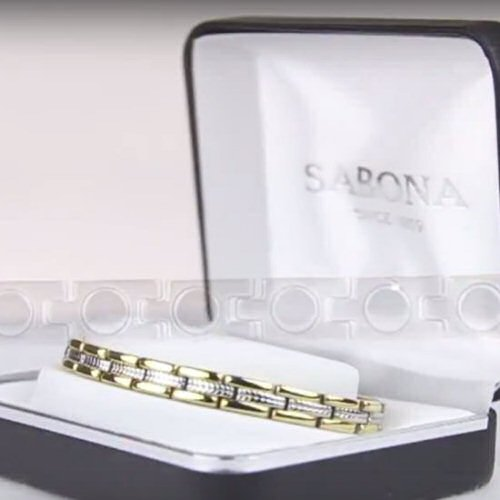 SABONA Executive Regal Duet slim Magnetic Bracelet with a rope stainless steel design and polished 18K gold plating