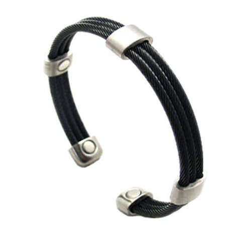 SABONA Trio Cable Black/Silver Magnetic Bracelet, Three stainless steel matte finished black cables connected together and accented by five brushed satin stainless connectors