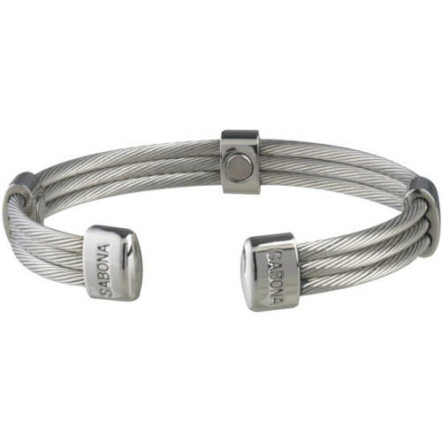 SABONA Trio Cable Stainless Magnetic Bracelet, Five polished stainless accents, each containing a 1200 gauss magnet placed bio-north to the skin, complement the three connected stainless steel cables in this Sabona design