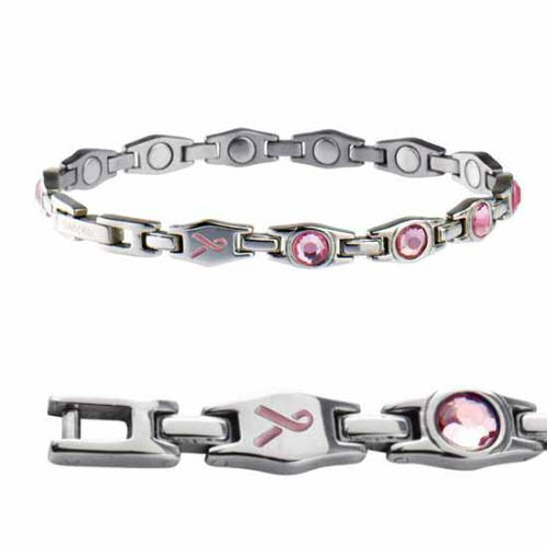Sabona Of London Magnetarmband Executive Pink Ribbon In Glänzendem Hochwertigen Edelstahl Mit Klaren Rosa Kristallen