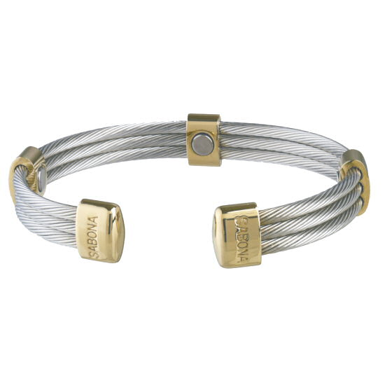 363 trio cable stainless gold magnetic bracelet. Black Bedroom Furniture Sets. Home Design Ideas